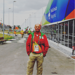 Carlo Guadagno, DC, stands in front of the Olympic Village Polyclinic where he treated athletes at the 2016 Olympic Games in Rio de Janeiro.