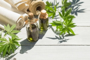 A bottle of hemp oil that may have side effects of hemp oil supplements