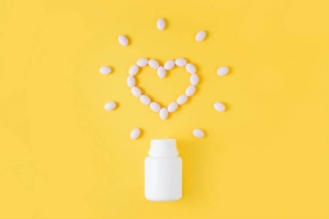 A bottle of supplements for heart health