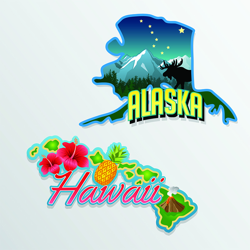 Alaska and Hawaii are admitted to the union as the 49th and 50th states