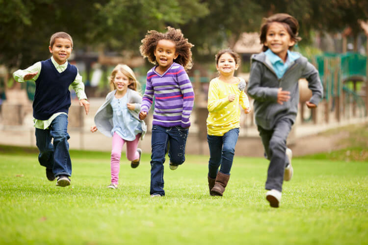 A group of children celebrating every kid healthy week