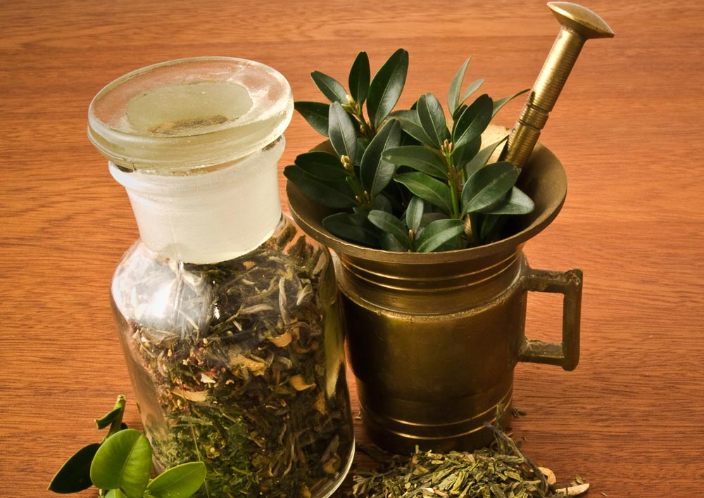Herbs in metal pitcher and glass jar