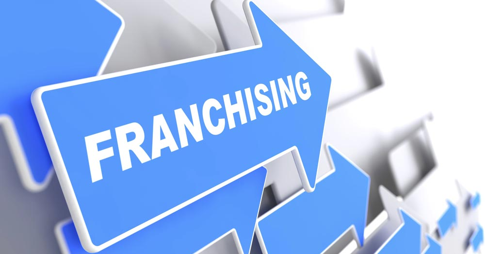 "The word ""franchizing"" on blue arrows"