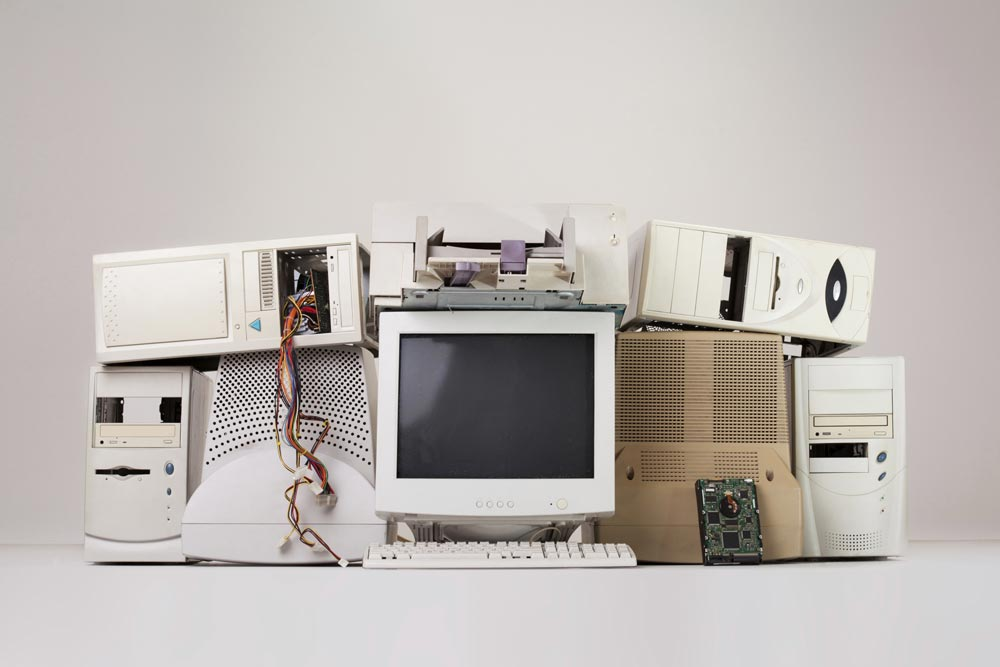 Pile of outdated computer hardware