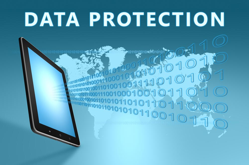 The words data protection on blue graphic