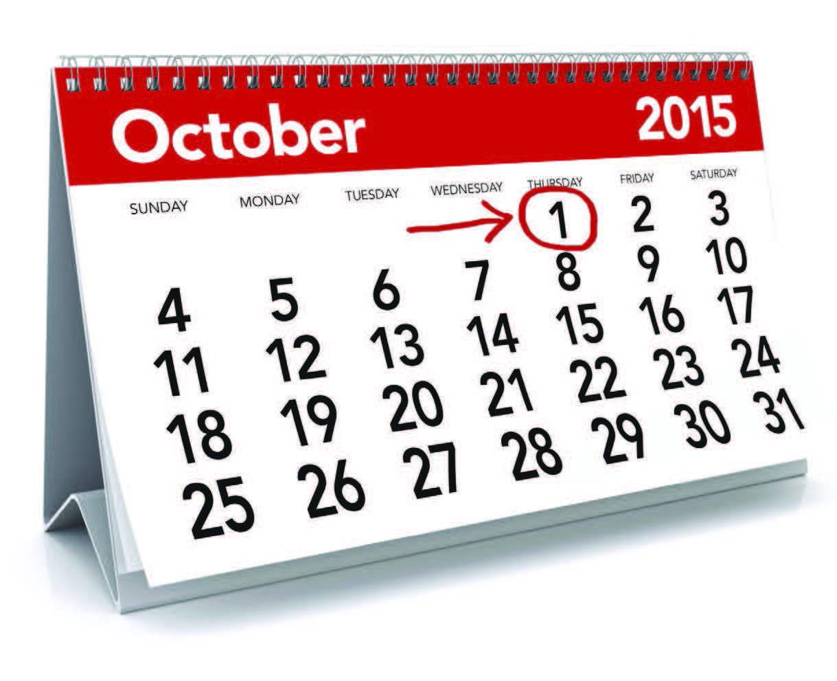 Calendar with october 1st circled